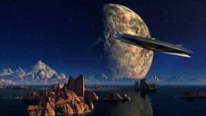 Ufo vor Mond